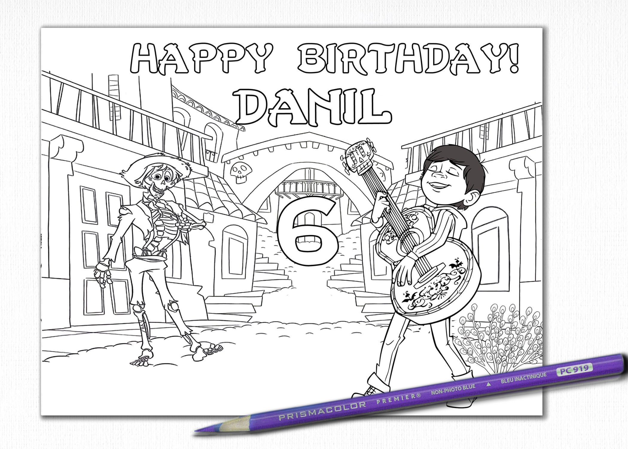 Birthday coloring pages coco skeleton invite coco birthday party personalized jpeg customised birthday colouring activity page