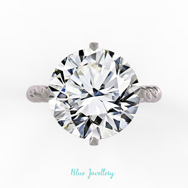 94303d511a4c6 9.0 cts Round cut moissanite engagement ring, statement moissanite diamond  ring, big moissanite ring, large diamond ring, Lara Moissanite