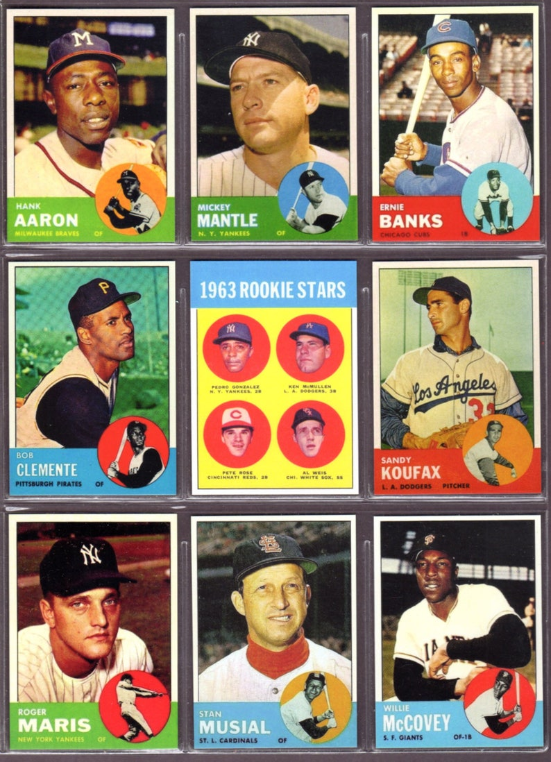 Select One 1963 Topps Baseball Reprint Card At 299 Eachaaron Mantle Mays Clemente Rose Rookie Koufax Maris Musial Mccovey