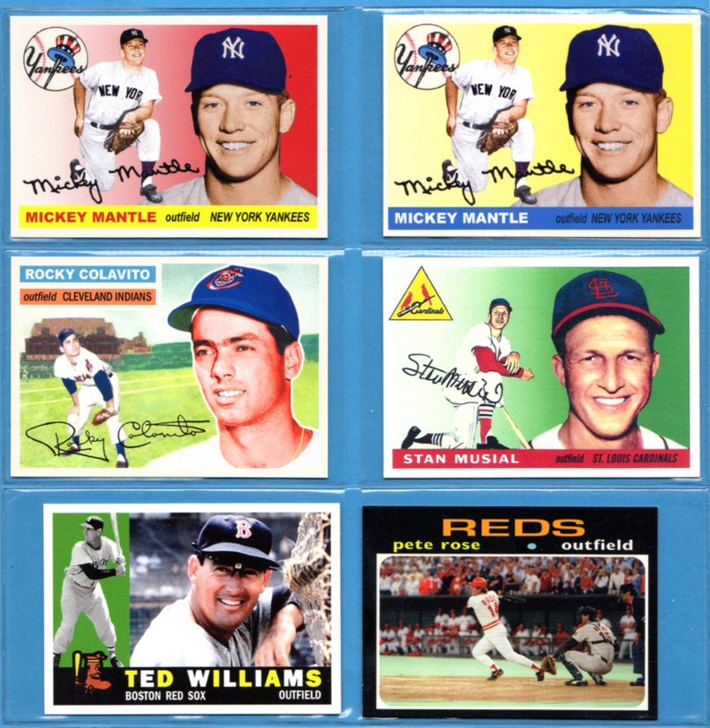 Choose One Cardcustom Baseball Card 1955 Mantle Red Or Cream 1956 Rocky Colavito 1955 Stan Musial 1960 Ted Williams 1971 Rose 4192