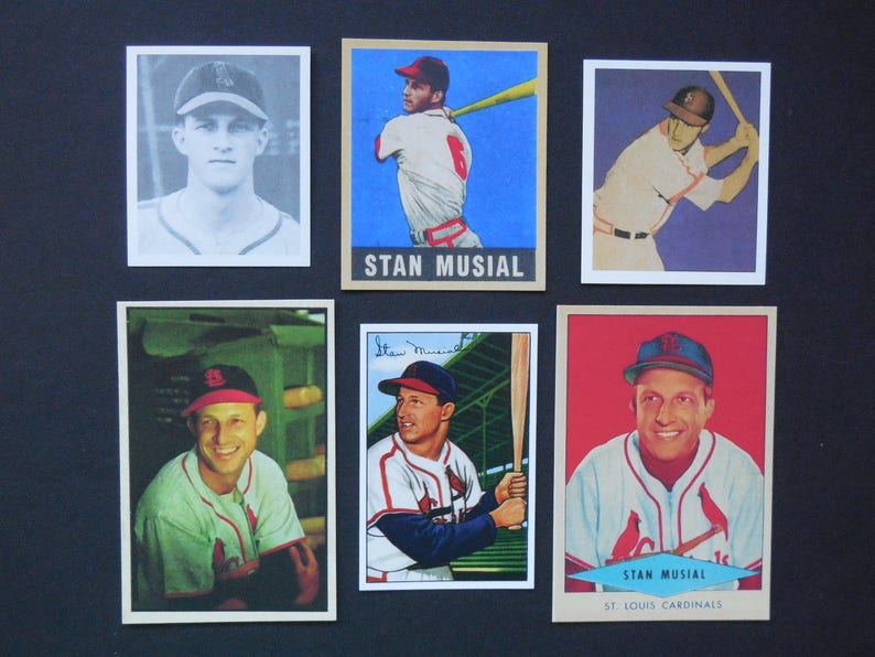 Choose Onestan Musial Reprint Baseball Card 1948 Bowman Rookie 1949 Bowman 1949 Leaf 1953 Bowman 1952 Bowman 1954 Red Heart