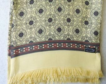 Foulard en soie géométrique jaune Tootal