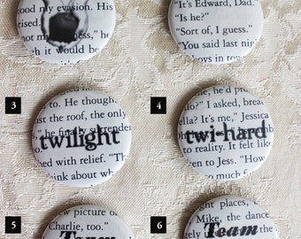 Twilight Saga • Edward Cullen • Twilight Rings • Bella Swan • 1.5 inch diameter pins • Book pages makes each unique • Buy 3 Get 1 FREE