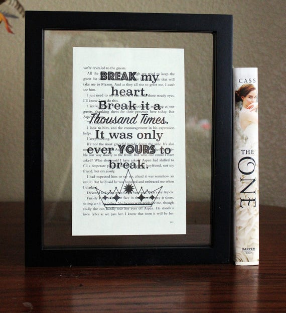 The Selection Series Break My Heart Book Lover Gift The Etsy