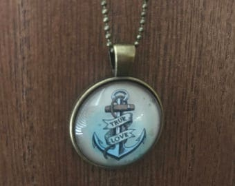 """Sailor Jerry """"True Love"""" anchor pendant and necklace"""