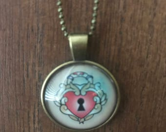 Sailor Jerry Heart Locket Tattoo pendant and necklace
