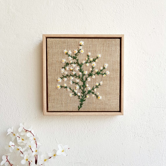 Embroidery Art Flower Design Gift Decor Wall Hanging Etsy