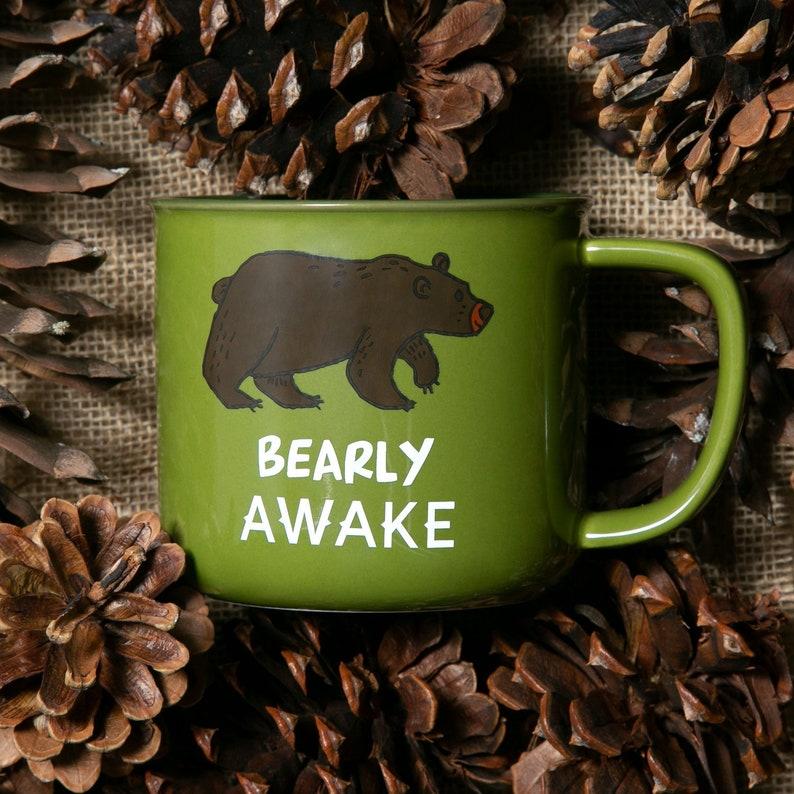 Bearly Awake Camping People Coffee Tea Beverage 17oz Mug
