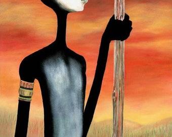 Warrior   Elginia McCrary   African American Art   Black Art   Fine Art   Art Print   Limited Edition    UNFRAMED