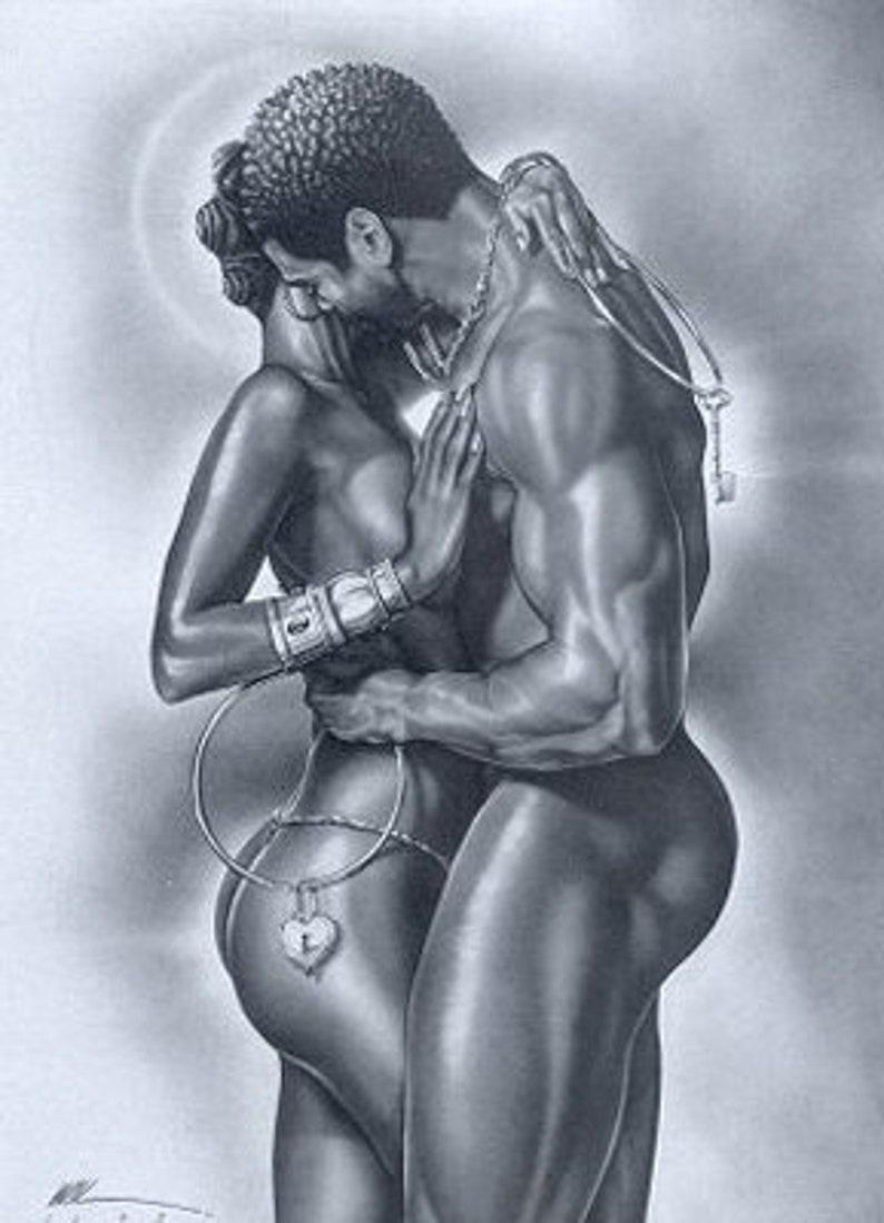 Blind love loving nude interracial couple stock photo