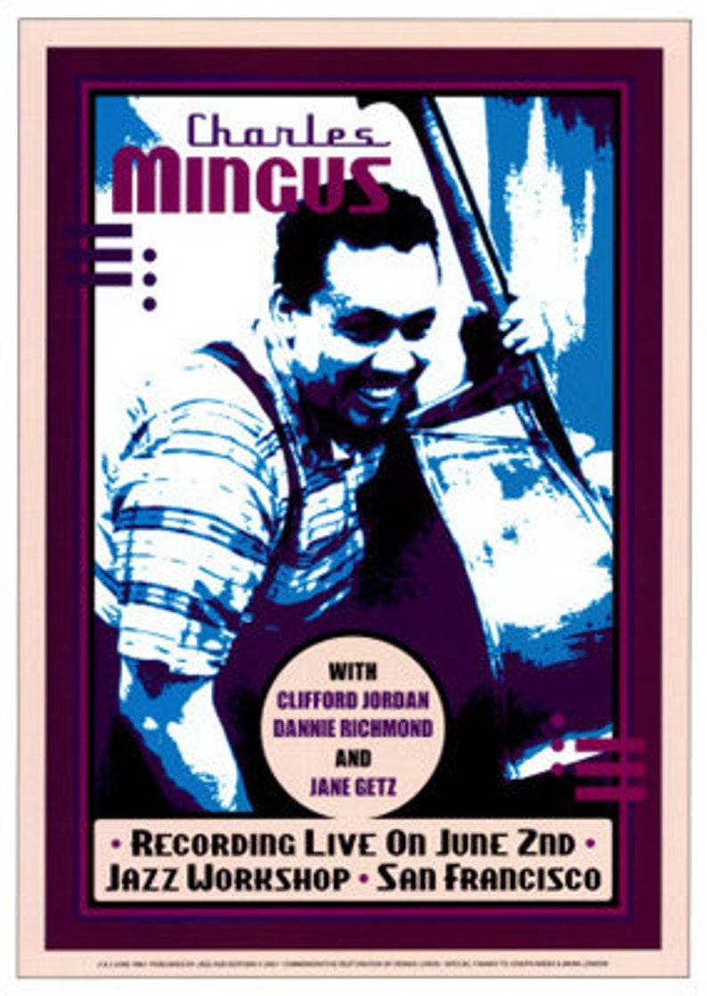African American Art Jazz Vintage Style Concert Billboard San Francisco Prints Print Poster Black Art Charles Mingus: Jazz Workshop