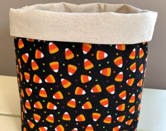 Candy Corn Fabric Basket, Fall Decor, Halloween, Decorative Basket, Home Decor, Storage Basket