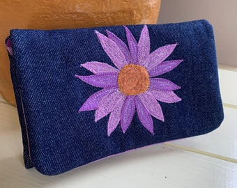 Jean Tri-Fold Wallet with Appliqued and Embroidered Purple Flower