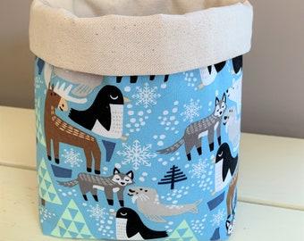 Happy Arctic Animals Fabric Basket, Blue with Canvas Interior, Hostess Basket, Home Decor Basket, Housewarming, Gift Basket