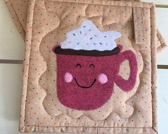 Hot Cocoa Potholder Set, with Smiling Hot Cocoa Cups and Whipped Cream on top, Handmade and Appliqued with Felted Wool