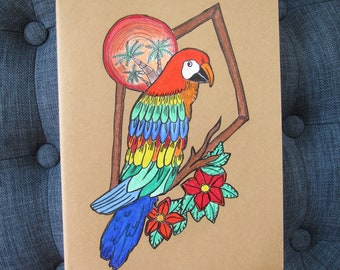 Handdrawn, Originally Designed Prismacolor Rainbow Parrot Moleskine Cahier Journal