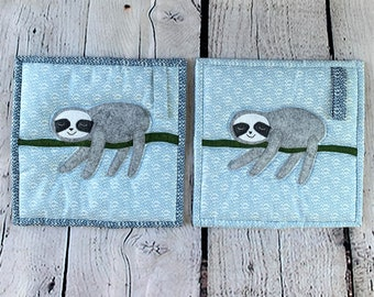 Blue Sloth Potholder Set, with Hanging Loop, and Felted Wool Appliqued Sloths