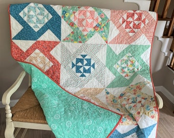 Pinwheel Lap Quilt, Wildflowers and Fields Fabrics, Beautiful Pops of Color, Handmade, Colorful Quilt
