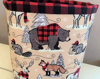 Cozy Winter Animals Fabric Basket, Tan, Red and Grey with Red and Black Plaid Interior, Storage, Gift Basket, Home Decor, Cottagecore