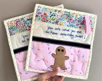 Gingerbread Man Embroidered Potholder Set, Sprinkles and Florals, You Are What You Eat So Have Something Sweet