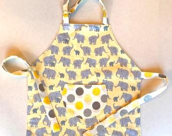 Kid's Apron, Yellow & Gray Elephant Print Chef, Kitchen, Art and Dress Up Apron, Polka Dots on reverse, Child's Size 2 - 4