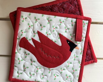 Red Cardinal Appliqued Potholder Set with Holly Berries and Leaves, Red Jean Trim and Snowflake Checked Back