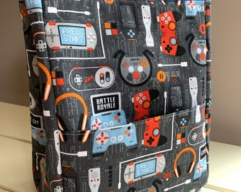 Gamers Lunch Bag, with Retro Gamer Video Game Print, Kids Lunch Sack with BPA Free Lining, Front Pocket, Velcro Closure, Insulated