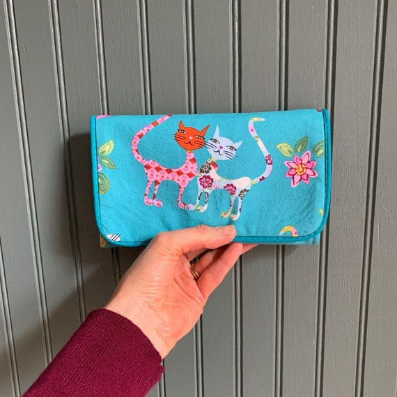 rifle paper co handmade little card cash foldover cute floral 2 slot canvas cloth fun patterned vegan fabric women\u2019s gift Small snap wallet