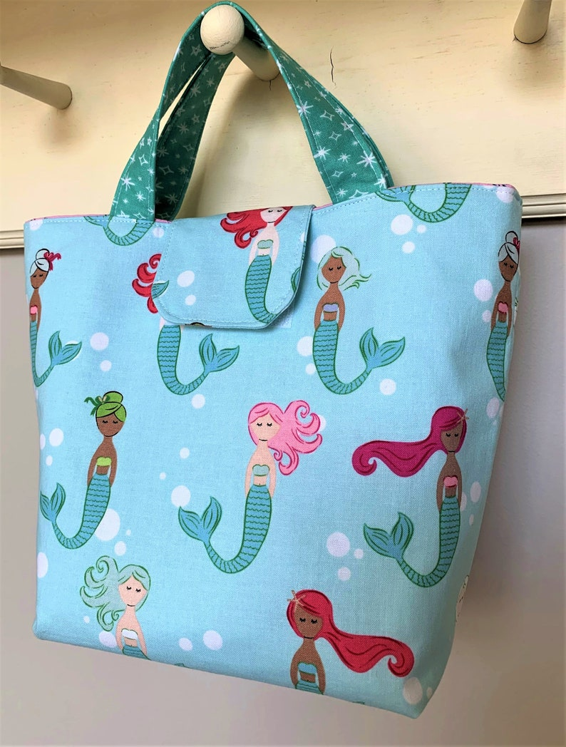 Mint Green and Pink Mermaid Insulated Lunch Bag