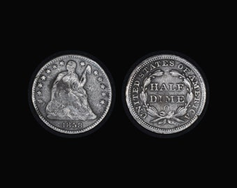 1858-O Seated Liberty Half Dime Type 2 Resumed - Stars and Drapery on Obverse - Silver Half Dime