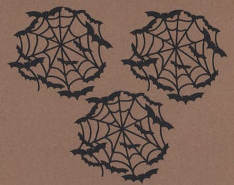 """6 - 3"""" Tall Spider Web with Bats Die Cuts Halloween Embellishments Set 9001"""