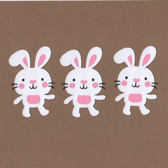 6 BACK OF THE BUNNY DIE CUTS EASTER BUNNIES RABBIT PINK WHITE EMBELLISHMENT