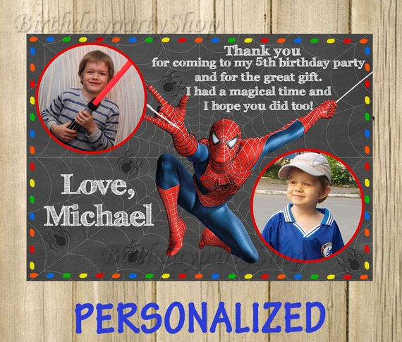 Spider Man Thank You Card Spider Man Birthday Thank You Note Etsy