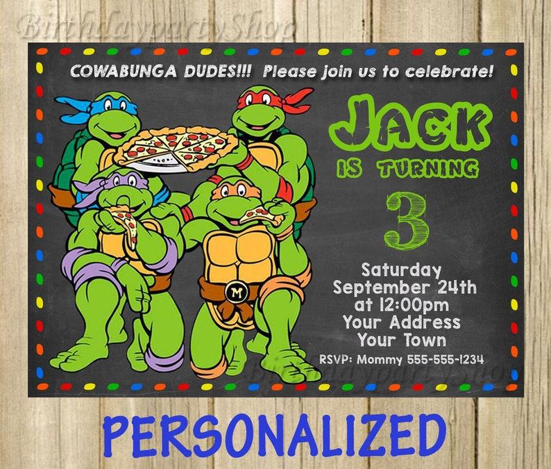 Ninja Turtles Invitation Birthday Party TMNT PERSONALIZED Digital File