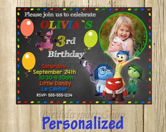 Inside Out, Invitation -Invite Inside Out Birthday, Invite -Inside Out Personalized, Digital File