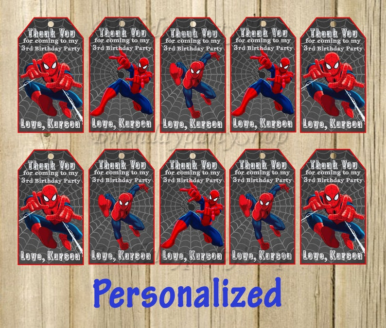 Spider-Man Favor Tag Spider-Man Thank You Tags Personalized  6c80924531489
