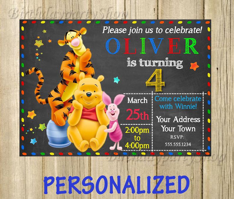 Kubuś Puchatek Zaproszenie Kubuś Puchatek Urodziny Zaprosić Spersonalizowane Cyfrowy Plik