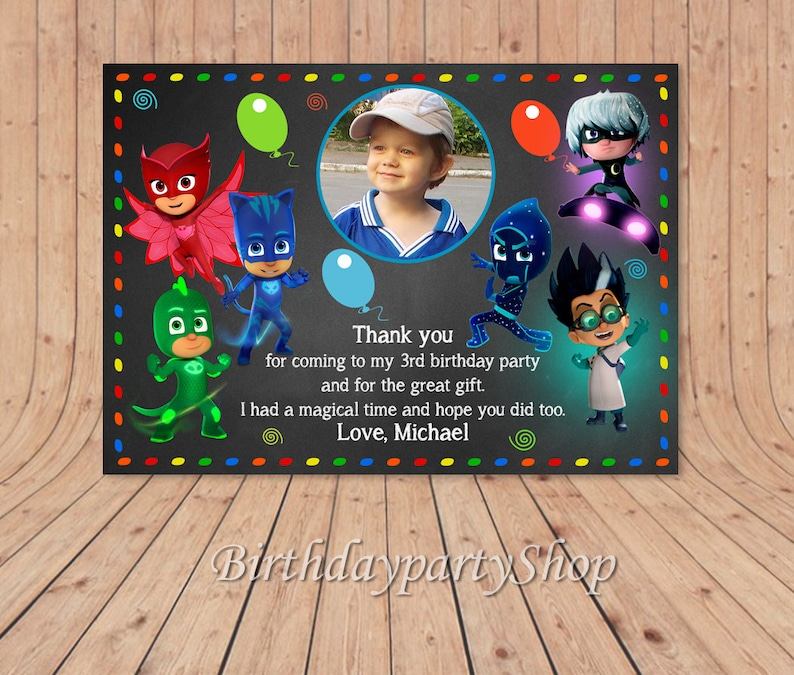 The PJ Masks Thank You Card Birthday Note PERSONALIZED Dig