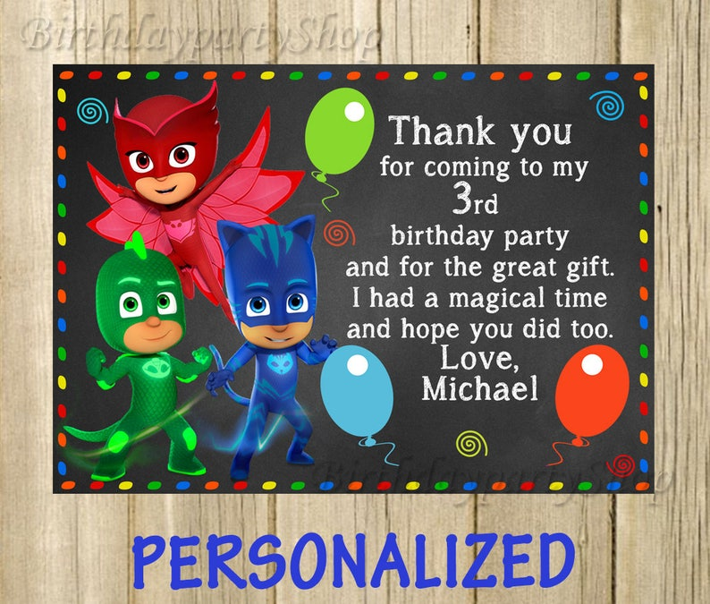 The PJ Masks Thank You Card Birthday Note