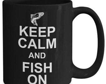 Keep calm and fish on mug||Fisherman mug||fishing gifts for graduate||fishing mug|| fisherman mug gift ||fishing grandma|| fishing papa mug