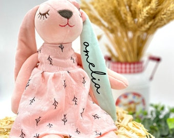 Personalized Dolls for Girls - Handmade Plush Doll, Baby Kids Newborn Nursery Decor Girl, Stuffed Bunny Toy Baby Gift, Handmade Rabbit Bunny