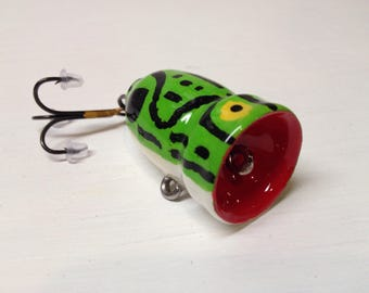 "Fishing Lure, Topwater Lure, Bass Popper, Handcrafted, handpainted, custom 3/4 X 1 1/2"" bass popper fishing lure"
