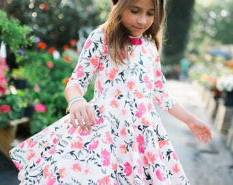 Girls outfit for spring - girls twirl dress - toddler girl twirl dress - twirl dress - girls pink dress - girls floral dress - toddler dress