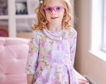 Girls unicorn dress - unicorn party dress - toddler unicorn dress - girls dress with unicorns - girls dress for spring - toddler dress