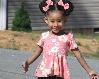 Girls peplum top - girls summer top - peplum top for girls - toddler girls peplum top - summer top for girls - girls summer shirt