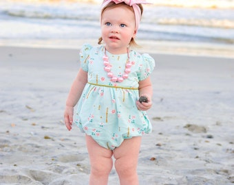 b3f489d8dae7 Girls bubble romper for spring - Easter bubble romper - baby romper -  toddler romper - mint and gold romper