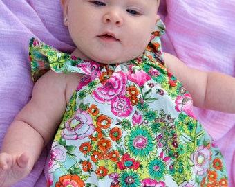Baby girls romper - bubble romper - romper for toddler girls -  girls flutter sleeve romper - girls floral romper - summer bubble romper