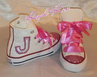 ec65cd66f57f Kids Bling shoes   Kids custom Shoes  Pretty in Pink Converse   Bling    Name   Initial   Birthday   Party   Pink   Crystals   Chucks   Gift