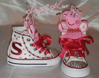 865b3400443 Peppa Pig Converse   Bling   Girls   Birthday   Chucks  Converse  Party    Red   Pink