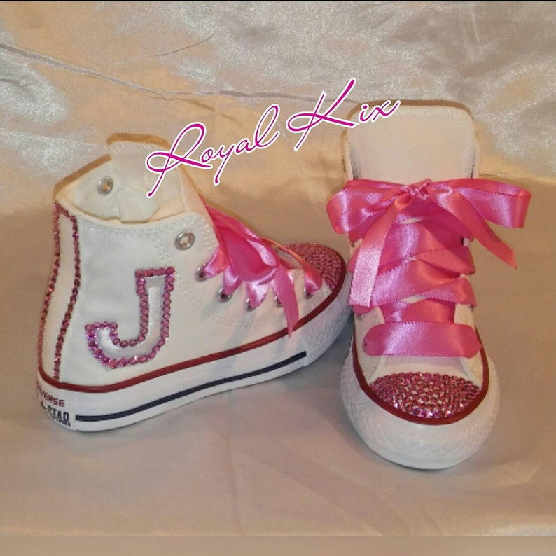 d749d05293677 Kids Bling shoes / Kids custom Shoes /Pretty in Pink Converse / Bling /  Name / Initial / Birthday / Party / Pink / Crystals / Chucks / Gift